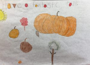 Photo of a fall placemat drawn by a Mountainview Elementary student